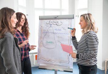Frau zeigt zwei anderen Frauen etwas auf einem Board